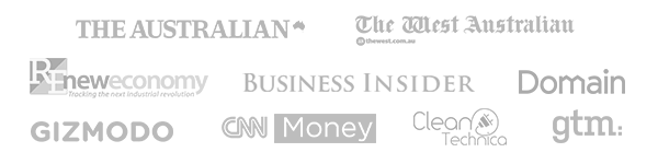 As featured in The Australian, Domain, The West Australian, Gizmodo, The Insider, CNN Money, Clean Technica, GTM and New Economy